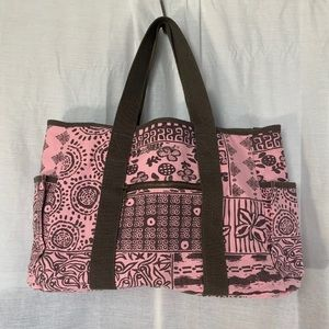 Life Is Good Pink And Brown Large Tote